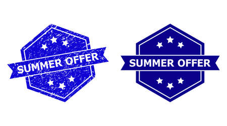Hexagon SUMMER OFFER stamp seal on a white background, with source variant. Flat vector blue grunge stamp with SUMMER OFFER title inside hexagon shape, ribbon is used. Watermark with grunge texture.