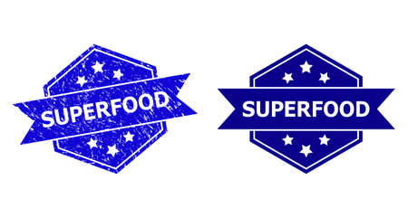 Hexagon SUPERFOOD stamp on a white background, with undamaged version. Flat vector blue grunge seal stamp with SUPERFOOD caption inside hexagon shape, ribbon used also. Ilustração