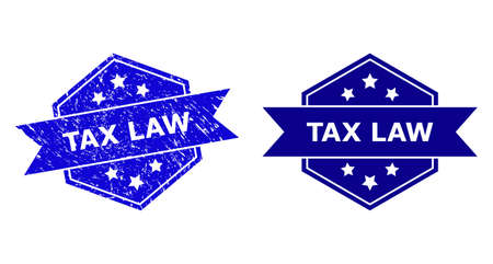 Hexagon TAX LAW seal stamp on a white background, with clean version. Flat vector blue grunge seal stamp with TAX LAW title inside hexagon form, ribbon used also. Imprint with unclean surface.