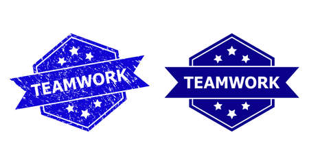 Hexagon TEAMWORK watermark on a white background, with clean variant. Flat vector blue scratched watermark with TEAMWORK title inside hexagon form, ribbon is used also.