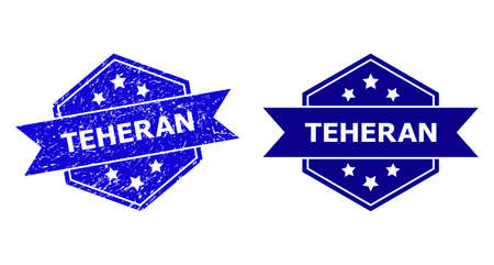 Hexagon TEHERAN seal on a white background, with original version. Flat vector blue textured watermark with TEHERAN text inside hexagon form, ribbon used also. Watermark with corroded texture. Ilustração