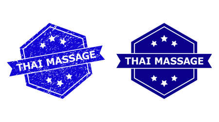 Hexagon THAI MASSAGE seal stamp on a white background, with source version. Flat vector blue textured seal stamp with THAI MASSAGE caption inside hexagon shape, ribbon is used also. Ilustração