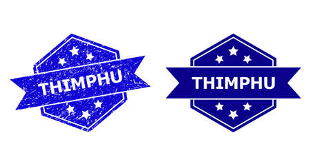 Hexagon THIMPHU stamp seal on a white background, with clean variant. Flat vector blue grunge seal stamp with THIMPHU text inside hexagoanl shape, ribbon is used. Watermark with grunge surface.