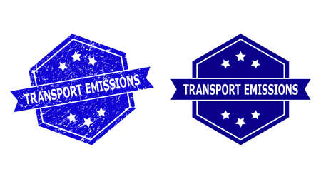 Hexagon TRANSPORT EMISSIONS seal stamp on a white background, with original version. Flat vector blue grunge seal stamp with TRANSPORT EMISSIONS text inside hexagon shape, ribbon used also.
