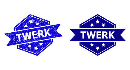 Hexagonal TWERK seal on a white background, with clean variant. Flat vector blue scratched seal stamp with TWERK text inside hexagoanl form, ribbon is used. Rubber imitation with scratched surface.