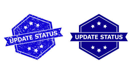 Hexagon UPDATE STATUS seal stamp on a white background, with source version. Flat vector blue distress watermark with UPDATE STATUS title inside hexagon shape, ribbon is used also.