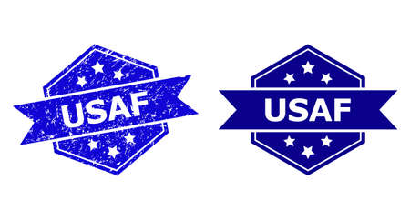 Hexagonal USAF stamp seal on a white background, with source version. Flat vector blue distress seal stamp with USAF caption inside hexagon form, ribbon used also. Watermark with unclean texture.