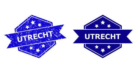 Hexagon UTRECHT watermark on a white background, with undamaged variant. Flat vector blue textured watermark with UTRECHT title inside hexagon shape, ribbon is used also.