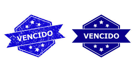 Hexagon VENCIDO stamp on a white background, with source version. Flat vector blue distress watermark with VENCIDO phrase inside hexagon form, ribbon is used. Watermark with distress surface.