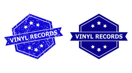 Hexagon VINYL RECORDS seal stamp on a white background, with source variant. Flat vector blue distress stamp with VINYL RECORDS caption inside hexagon shape, ribbon used also.