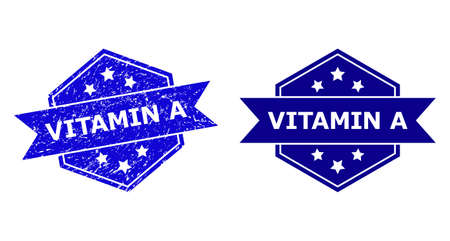 Hexagonal VITAMIN A seal stamp on a white background, with original variant. Flat vector blue scratched stamp with VITAMIN A caption inside hexagoanl form, ribbon is used.