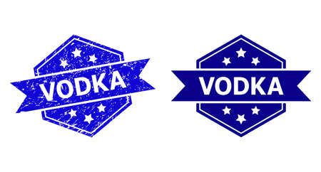 Hexagon VODKA seal stamp on a white background, with undamaged variant. Flat vector blue grunge seal with VODKA caption inside hexagon shape, ribbon is used. Watermark with corroded style.