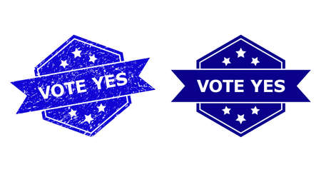 Hexagonal VOTE YES seal stamp on a white background, with undamaged version. Flat vector blue textured seal stamp with VOTE YES text inside hexagoanl shape, ribbon is used.