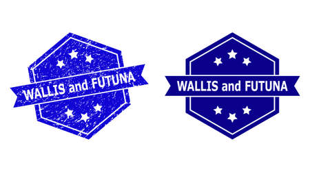 Hexagon WALLIS AND FUTUNA stamp seal on a white background, with original version. Flat vector blue scratched seal stamp with WALLIS AND FUTUNA title inside hexagon form, ribbon used.