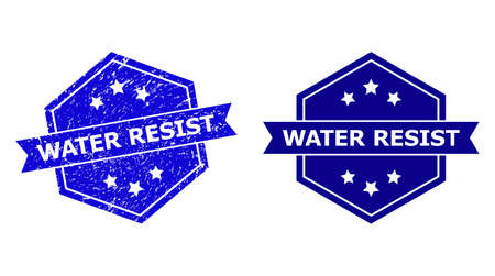 Hexagon WATER RESIST seal stamp on a white background, with clean variant. Flat vector blue textured stamp with WATER RESIST phrase inside hexagon shape, ribbon is used also.