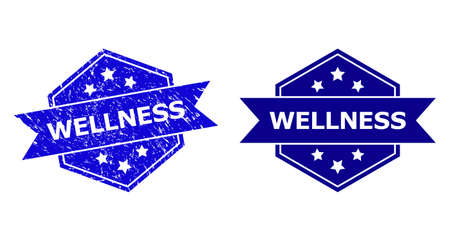 Hexagon WELLNESS seal stamp on a white background, with clean variant. Flat vector blue scratched seal stamp with WELLNESS phrase inside hexagon form, ribbon is used. Watermark with unclean surface.