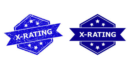 Hexagonal X-RATING watermark on a white background, with original variant. Flat vector blue scratched watermark with X-RATING phrase inside hexagoanl shape, ribbon is used. Ilustração
