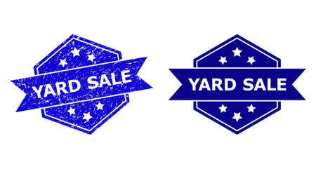 Hexagonal YARD SALE watermark on a white background, with source version. Flat vector blue scratched stamp with YARD SALE phrase inside hexagon form, ribbon is used. Watermark with scratched surface. Ilustração