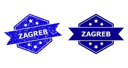 Hexagon ZAGREB seal on a white background, with undamaged version. Flat vector blue distress seal with ZAGREB phrase inside hexagon shape, ribbon is used also. Imprint with distress style. Ilustração