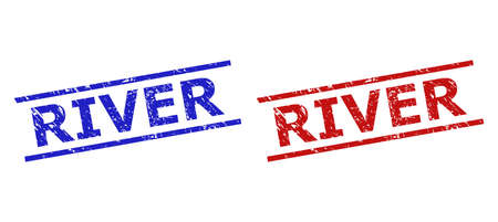 Blue and red RIVER seal stamps on a white background. Flat vector scratched watermarks with RIVER phrase inside 2 parallel lines. Watermarks with scratched style.
