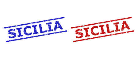 Blue and red SICILIA watermarks on a white background. Flat vector scratched seals with SICILIA text between two parallel lines. Watermarks with scratched texture.