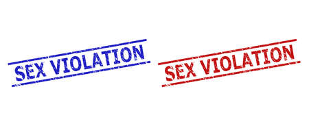Blue and red SEX VIOLATION seal stamps on a white background. Flat vector textured stamps with SEX VIOLATION text between two parallel lines. Imprints with distress style.