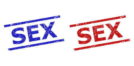 Blue and red SEX seal stamps on a white background. Flat vector grunge seal stamps with SEX title between parallel lines. Rubber imitations with unclean style.  イラスト・ベクター素材