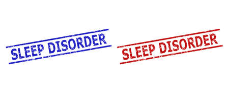 Blue and red SLEEP DISORDER seal stamps on a white background. Flat vector scratched seal stamps with SLEEP DISORDER caption between two parallel lines. Watermarks with grunged style.