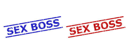 Blue and red SEX BOSS stamp seals on a white background. Flat vector grunge seals with SEX BOSS title between 2 parallel lines. Imprints with grunge surface.