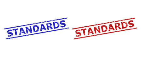 Blue and red STANDARDS watermarks on a white background. Flat vector distress watermarks with STANDARDS phrase between two parallel lines. Imprints with corroded style. Vektorgrafik