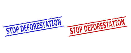 Blue and red STOP DEFORESTATION seal stamps on a white background. Flat vector textured seal stamps with STOP DEFORESTATION text inside parallel lines. Watermarks with corroded surface.