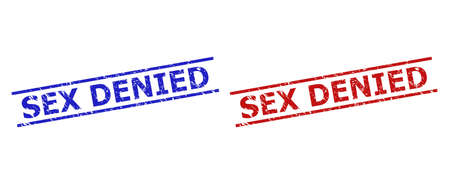 Blue and red SEX DENIED stamp seals on a white background. Flat vector grunge seals with SEX DENIED caption inside 2 parallel lines. Watermarks with corroded surface.