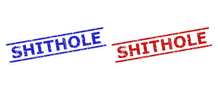 Blue and red SHITHOLE seal stamps on a white background. Flat vector scratched watermarks with SHITHOLE message inside 2 parallel lines. Watermarks with scratched style.