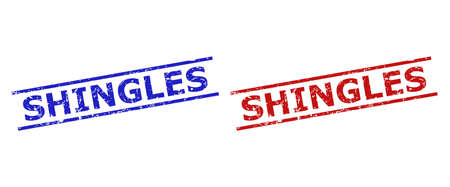 Blue and red SHINGLES seal stamps on a white background. Flat vector grunge seal stamps with SHINGLES text inside 2 parallel lines. Rubber imitations with distress texture.