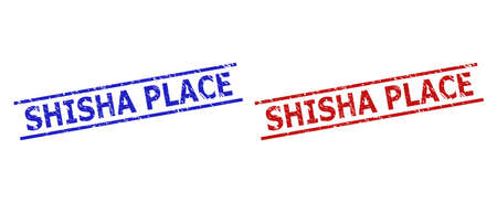Blue and red SHISHA PLACE seal stamps on a white background. Flat vector grunge seal stamps with SHISHA PLACE title inside 2 parallel lines. Watermarks with unclean style.