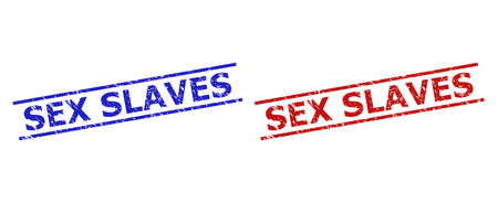 Blue and red SEX SLAVES seal stamps on a white background. Flat vector textured stamps with SEX SLAVES phrase between two parallel lines. Imprints with corroded surface.