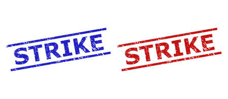 Blue and red STRIKE seal stamps on a white background. Flat vector distress watermarks with STRIKE phrase inside parallel lines. Watermarks with grunge surface.
