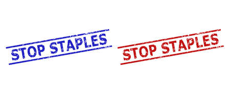 Blue and red STOP STAPLES stamps on a white background. Flat vector scratched seal stamps with STOP STAPLES text between parallel lines. Rubber imitations with scratched style.