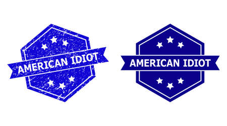 Hexagon AMERICAN IDIOT seal on a white background, with clean version. Flat vector blue scratched seal with AMERICAN IDIOT message inside hexagon shape, ribbon used also.
