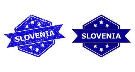 Hexagon SLOVENIA watermark on a white background, with original variant. Flat vector blue grunge seal with SLOVENIA title inside hexagon form, ribbon is used also. Imprint with grunge surface.