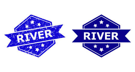 Hexagonal RIVER stamp on a white background, with clean variant. Flat vector blue scratched stamp with RIVER caption inside hexagon form, ribbon used. Imprint with scratched style.