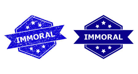 Hexagon IMMORAL seal stamp on a white background, with original version. Flat vector blue distress seal stamp with IMMORAL message inside hexagoanl form, ribbon is used also. Illustration