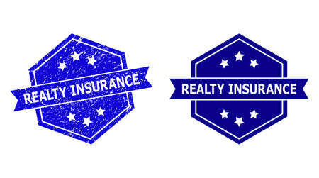 Hexagonal REALTY INSURANCE seal stamp on a white background, with clean variant. Flat vector blue textured seal stamp with REALTY INSURANCE text inside hexagoanl form, ribbon is used also.