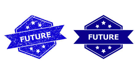 Hexagon FUTURE stamp seal on a white background, with undamaged variant. Flat vector blue scratched watermark with FUTURE text inside hexagon form, ribbon used also. Watermark with distress texture.