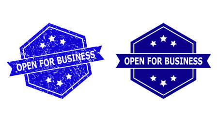 Hexagon OPEN FOR BUSINESS stamp seal on a white background, with undamaged version. Flat vector blue distress stamp with OPEN FOR BUSINESS phrase inside hexagon form, ribbon is used.