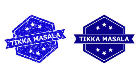 Hexagon TIKKA MASALA seal stamp on a white background, with undamaged variant. Flat vector blue distress seal stamp with TIKKA MASALA message inside hexagon shape, ribbon is used.