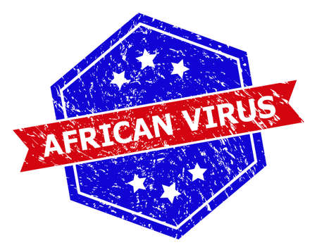 Hexagonal AFRICAN VIRUS stamp seal. Flat vector red and blue bicolor grunge rubber stamp with AFRICAN VIRUS caption inside hexagon shape, ribbon is used. Rubber imitation with grunge texture,