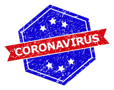 Hexagon CORONAVIRUS stamp. Flat vector blue and red bicolor distress rubber stamp with CORONAVIRUS slogan inside hexagoanl form, ribbon used. Rubber imitation with grunged texture,