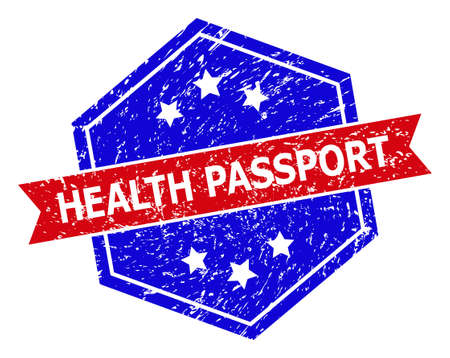 Hexagon HEALTH PASSPORT stamp. Flat vector red and blue bicolor distress rubber stamp with HEALTH PASSPORT tag inside hexagon form, ribbon used also. Rubber imitation with corroded texture,