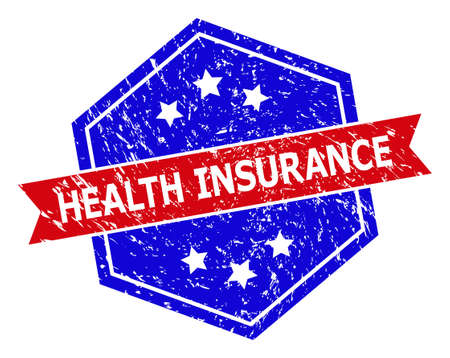 Hexagon HEALTH INSURANCE seal stamp. Flat vector blue and red bicolor grunge seal stamp with HEALTH INSURANCE message inside hexagon form, ribbon is used. Watermark with unclean surface,